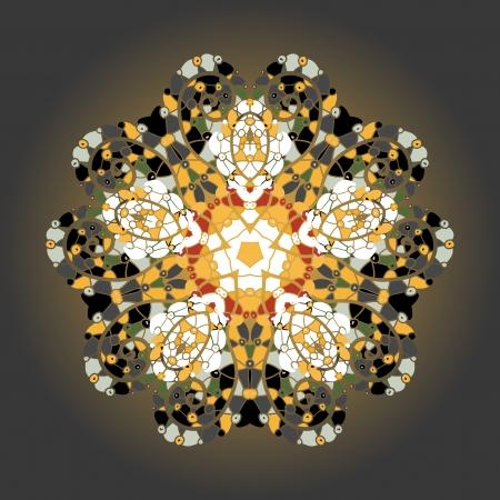 Oriental motivo mandala ronda patrón lase en el fondo amarillo, como la pintura o mehndi copo de nieve de naranja concepto de color etnias qué es el karma Foto de archivo - 18500929