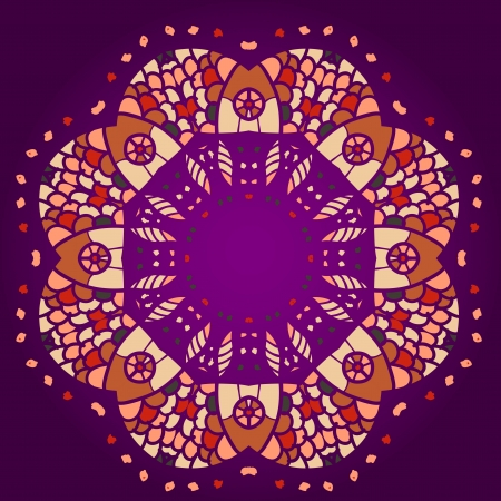 what is karma: what is karma  Oriental mandala motif round lase pattern on the violet background Illustration