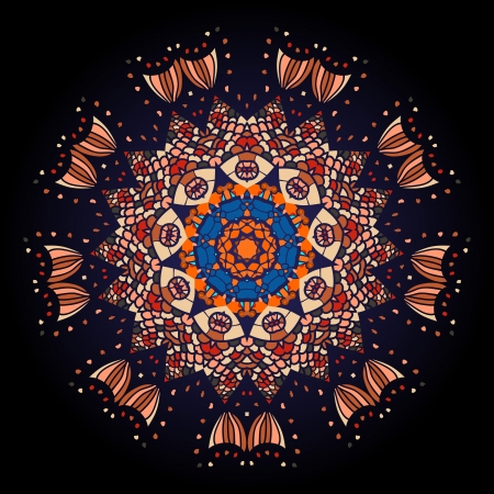 Oriental mandala motif round lase pattern on the black background, like snowflake or mehndi paint of deep red color  What is karma
