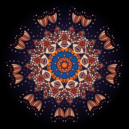 what is karma: Oriental mandala motif round lase pattern on the black background, like snowflake or mehndi paint of deep red color  What is karma