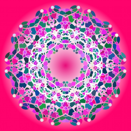 what is karma: Oriental mandala motif round lase pattern on the pink background, like snowflake or mehndi paint in red and blue  What is karma