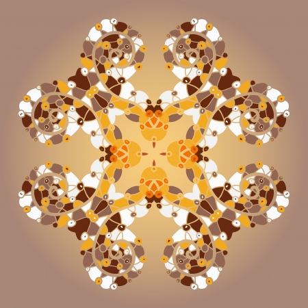 Oriental mandala motif round lase pattern on the yellow background, like snowflake or mehndi paint of orange color  Ethnic backgrounds concept - what is karma   Vector