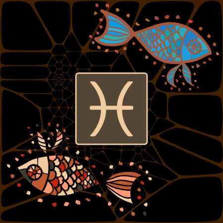 Illustration of Pisces The Fishes  zodiac horoscope astrology sign illustration illustration