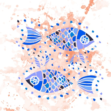 Zodiac sign of pisces  fishes  watercolor Vector