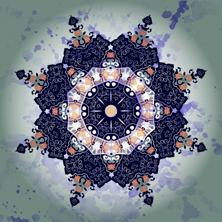 what is karma: Oriental mandala motif round lase pattern on the yellow background, like snowflake or mehndi paint of orange color  Ethnic backgrounds concept  what is karma