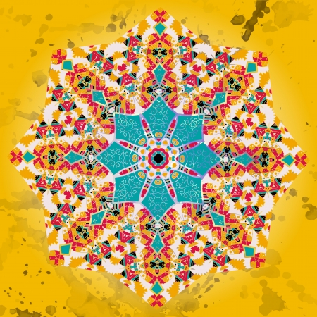 Oriental Yellow Blue mandala motif round lase pattern on the black background Vector