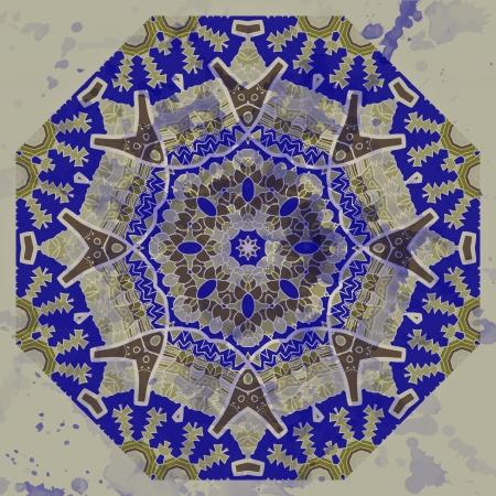 Oriental mandala motif round lase pattern on the gray background Stock Vector - 18588625