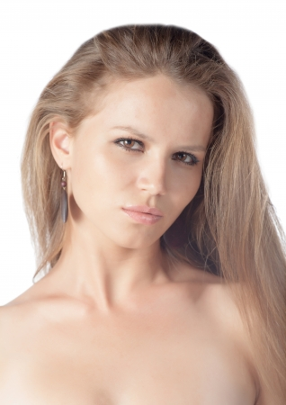 young 20-24 years old blond girl amazing face isolated over white background Stock Photo - 18691153