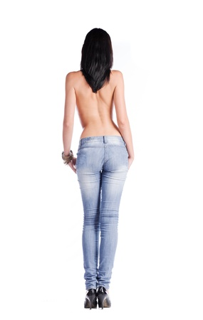 nice butt: full body shirtless brunette in jeans isolated on white background