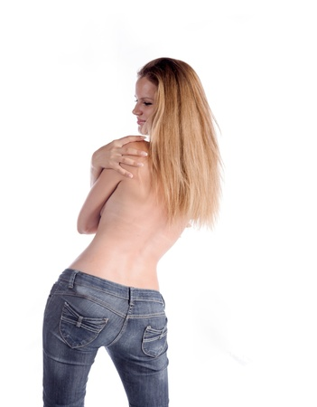 seminude: torso shirtless brunette in jeans isolated on white background