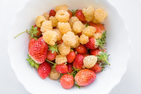 Assorted berries in bowl on natural white background  Selective focus Stock Photo - 18652359