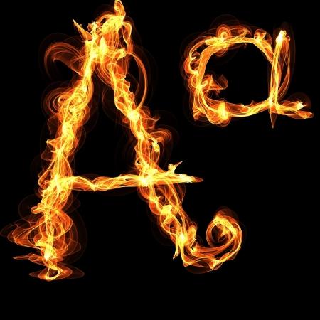 flame letters: A letter Fire Alphabet Illustration