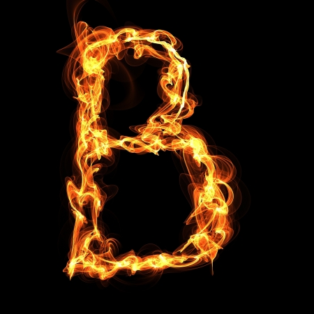 raging: B letter Fire Alphabet Illustration