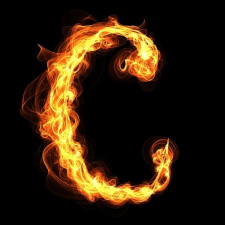 flame letters: C, Fire Alphabet Illustration
