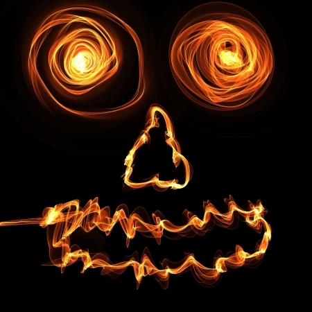 Angry face in a fire on the dark background  Vector