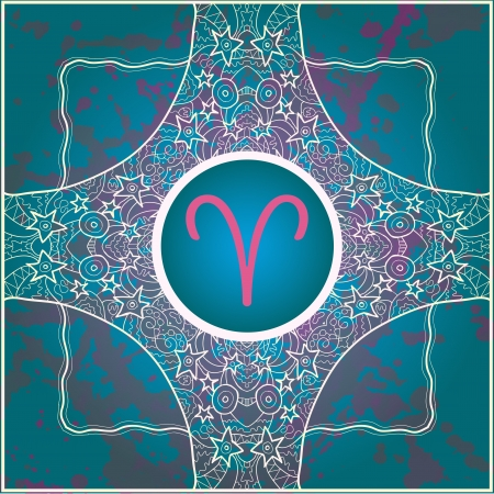 zodiac sign Aries  What is karma  Vector circle with zodiac signs on ornate wallpaper  Oriental mandala motif square lase pattern, like snowflake or mehndi paint  Watercolor elements on background Illustration