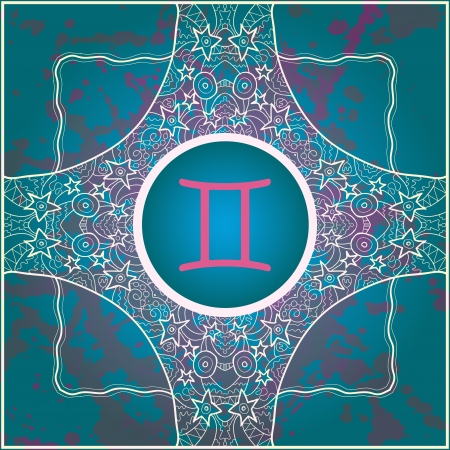 sign Gemini  What is karma  Vector circle with signs on ornate wallpaper  Oriental mandala motif square lase pattern, like snowflake or mehndi paint  Watercolor elements on background Vector