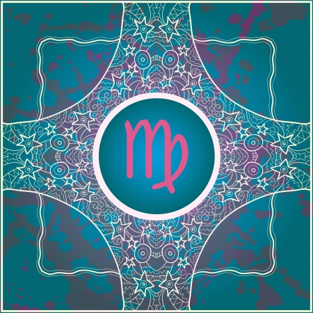 abstract symbolism: zodiac sign Virgo  What is karma  Vector circle with zodiac signs on ornate wallpaper  Oriental mandala motif square lase pattern, like snowflake or mehndi paint  Watercolor elements on background