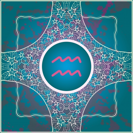 sign Aquarius  What is karma  Vector circle with signs on ornate wallpaper  Oriental mandala motif square lase pattern, like snowflake or mehndi paint  Watercolor elements on background Vector