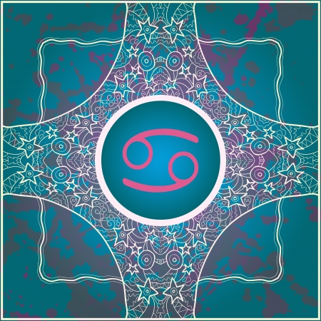 sign Cancer  What is karma  Vector circle with signs on ornate wallpaper  Oriental mandala motif square lase pattern, like snowflake or mehndi paint  Watercolor elements on background