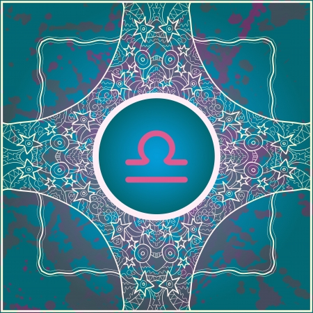 ascendant:  sign Libra  What is karma  Vector circle with signs on ornate wallpaper  Oriental mandala motif square lase pattern, like snowflake or mehndi paint  Watercolor elements on background Illustration
