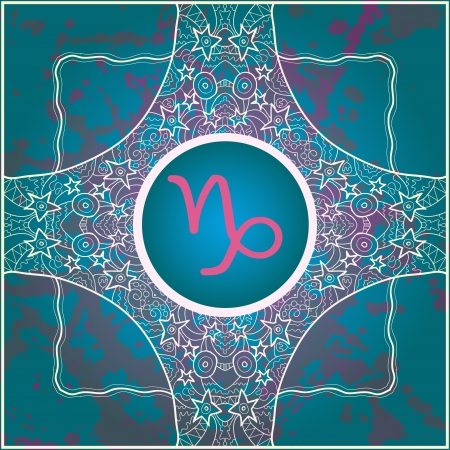 sign Capricorn  What is karma  Vector circle with signs on ornate wallpaper  Oriental mandala motif square lase pattern, like snowflake or mehndi paint  Watercolor elements on background Vector