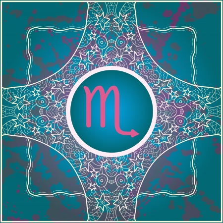 abstract symbolism:  sign Scorpio  What is karma  Vector circle with  signs on ornate wallpaper  Oriental mandala motif square lase pattern, like snowflake or mehndi paint  Watercolor elements on background