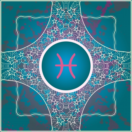 sign Pisces  What is karma  Vector circle with signs on ornate wallpaper  Oriental mandala motif square lase pattern, like snowflake or mehndi paint  Watercolor elements on background Illustration