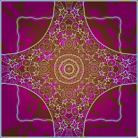 Oriental mandala motif round lase pattern on the pink background, like snowflake or mehndi paint in red and blue  What is karma  Watercolor elements on background
