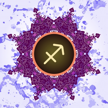 sign Sagittarius  What is karma  Vector circle signs on ornate wallpaper  Oriental mandala motif square lase pattern, like snowflake or mehndi paint  Watercolor elements on background