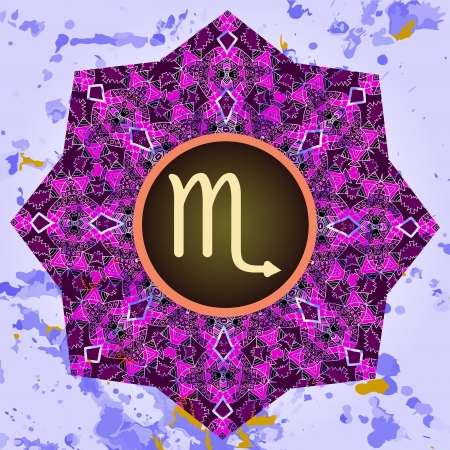 what is karma: sign Scorpio  What is karma  Vector circle with signs on ornate wallpaper  Oriental mandala motif square lase pattern, like snowflake or mehndi paint  Watercolor elements on background