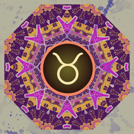sign Taurus  What is karma  Vector circle with signs on ornate wallpaper  Oriental mandala motif square lase pattern, like snowflake or mehndi paint  Watercolor elements on background Vector