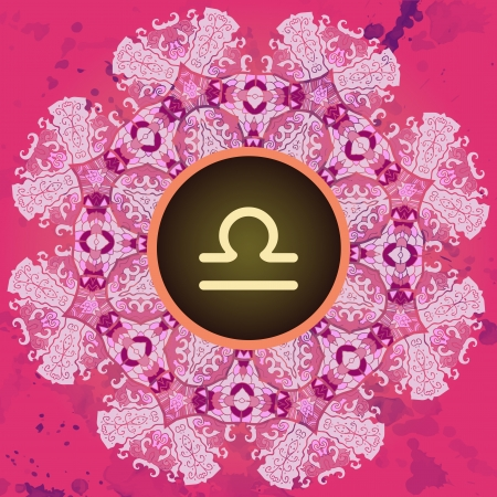 what is karma: sign Libra  What is karma  Vector circle with signs on ornate wallpaper  Oriental mandala motif square lase pattern, like snowflake or mehndi paint  Watercolor elements on background