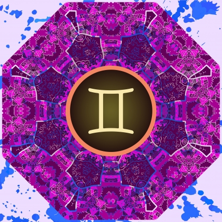 what is karma: sign Gemini  What is karma  Vector circle with signs on ornate wallpaper  Oriental mandala motif square lase pattern, like snowflake or mehndi paint  Watercolor elements on background