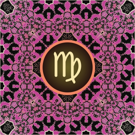 what is karma: sign Virgo  What is karma  Vector circle with signs on ornate wallpaper  Oriental mandala motif square lase pattern, like snowflake or mehndi paint  Watercolor elements on background