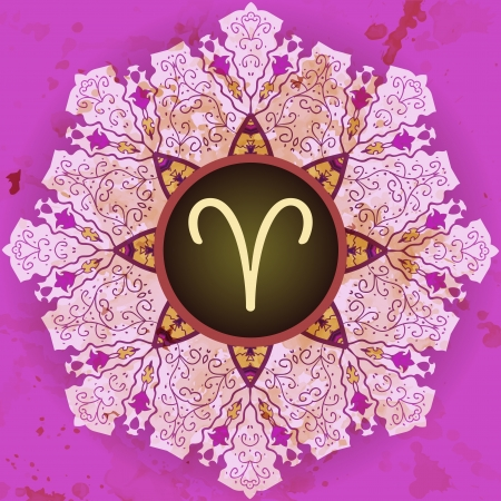 what is karma:  sign Aries  What is karma  Vector circle with signs on ornate wallpaper  Oriental mandala motif square lase pattern, like snowflake or mehndi paint  Watercolor elements on background Illustration