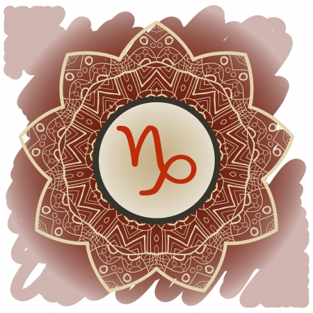 zodiac sign Capricorn  What is karma  Vector circle with zodiac signs on ornate wallpaper  Oriental mandala motif square lase pattern, like snowflake or mehndi paint  Watercolor elements on background Vector