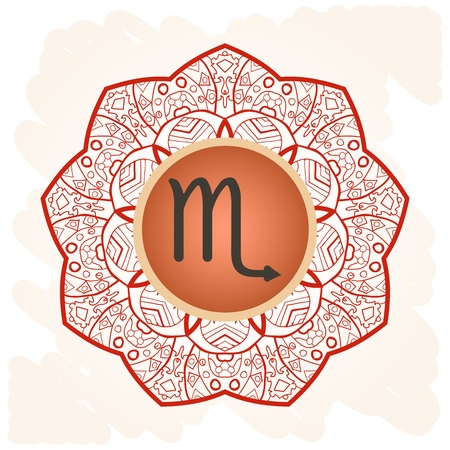 zodiac sign Scorpio  What is karma  Vector circle with zodiac signs on ornate wallpaper  Oriental mandala motif square lase pattern, like snowflake or mehndi paint  Watercolor elements on background Stock Vector - 18848559