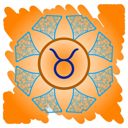 zodiac sign Taurus  What is karma  Vector circle with zodiac signs on ornate wallpaper  Oriental mandala motif square lase pattern, like snowflake or mehndi paint  Watercolor elements on background Stock Vector - 18848555