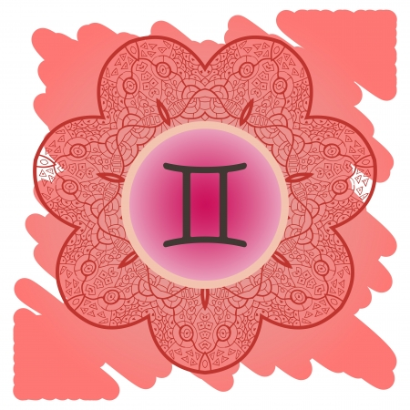 what is karma: zodiac sign Gemini  What is karma  Vector circle with zodiac signs on ornate wallpaper  Oriental mandala motif square lase pattern, like snowflake or mehndi paint  Watercolor elements on background