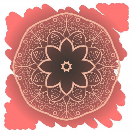 what is karma  Oriental mandala motif round lase pattern on the yellow background, like snowflake or mehndi paint of orange color  Ethnic backgrounds concept Illustration