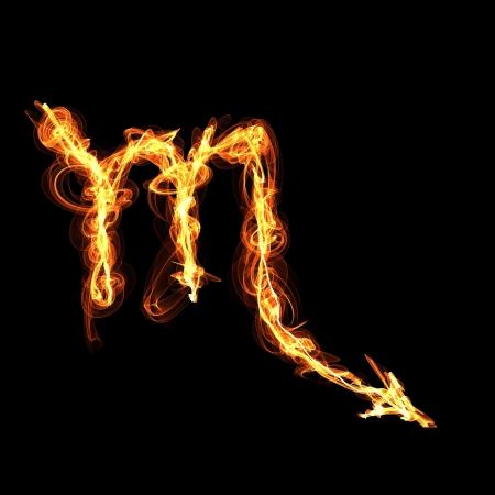 zodiacal sign: zod�aco Escorpio signo de fuego. Vectores