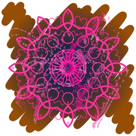 what is karma? Oriental mandala motif round lase pattern on the brown background, like snowflake or mehndi paint of orange color. Ethnic backgrounds concept