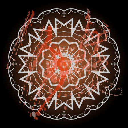 Oriental mandala motif round lase pattern on the black background, like snowflake or mehndi paint in light color with watercolor element on backdrop. What is karma?