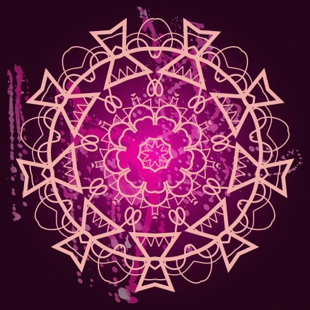 Oriental mandala motif round lase pattern on the black background, like snowflake or mehndi paint in light color with watercolor element on backdrop. What is karma? Vector