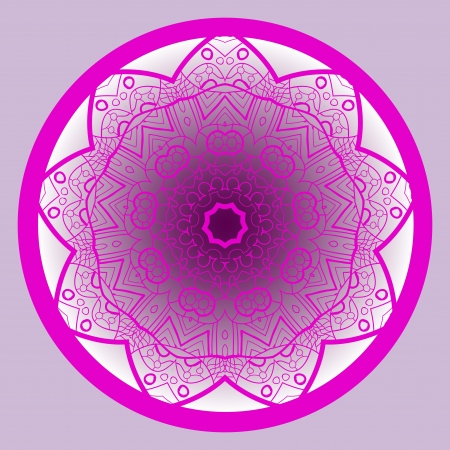 What is karma? Oriental mandala motif round lase pattern on the violet background, like snowflake or mehndi paint of deep pink color Stock Vector - 18921535