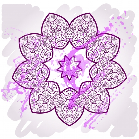 What is karma? Oriental mandala motif round lase pattern on the violet background, like snowflake or mehndi paint of deep pink color Illustration