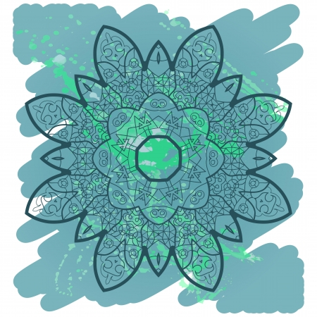 what is karma: Oriental mandala motif round lase pattern on the blue background, like snowflake or mehndi paint in light-blue color. Ethnic backgrounds native art concept. What is karma?