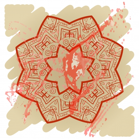 what is karma? Oriental mandala motif round lase pattern on the yellow background, like snowflake or mehndi paint of orange color. Ethnic backgrounds concept