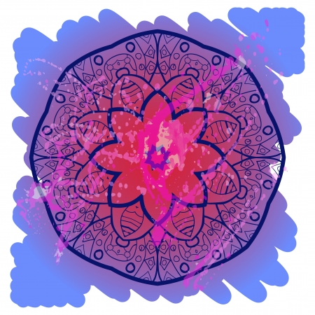 Oriental mandala motif round lase pattern on the blue background, like snowflake or mehndi paint in light-blue color. Ethnic backgrounds native art concept. What is karma? Stock Vector - 18921793